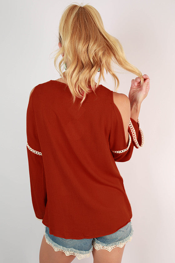 After Party Open Shoulder Top in Rust