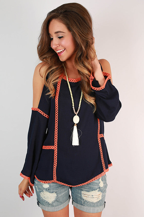 After Party Open Shoulder Top in Navy