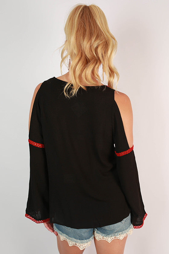 After Party Open Shoulder Top in Black
