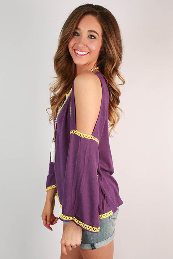 After Party Open Shoulder Top in Purple