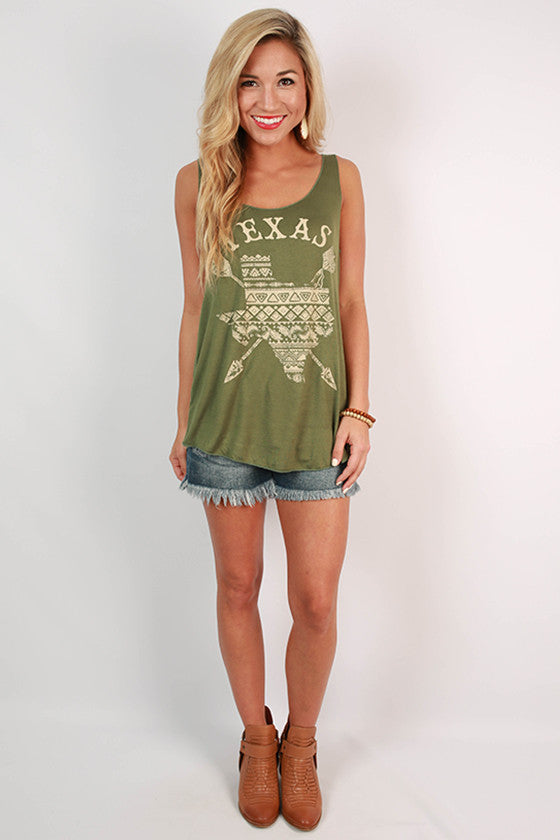 Oh Sweet Texas Tank in Olive