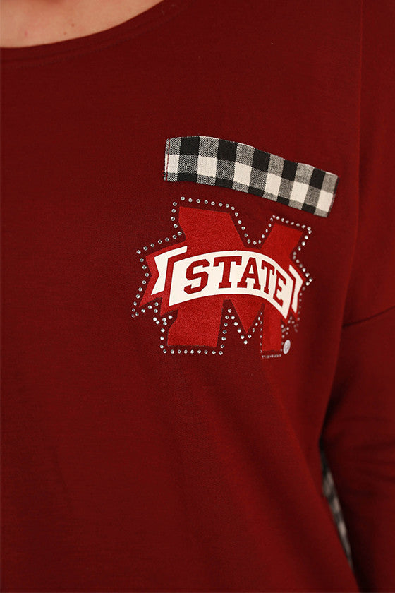 Mississippi State University Gingham Tunic