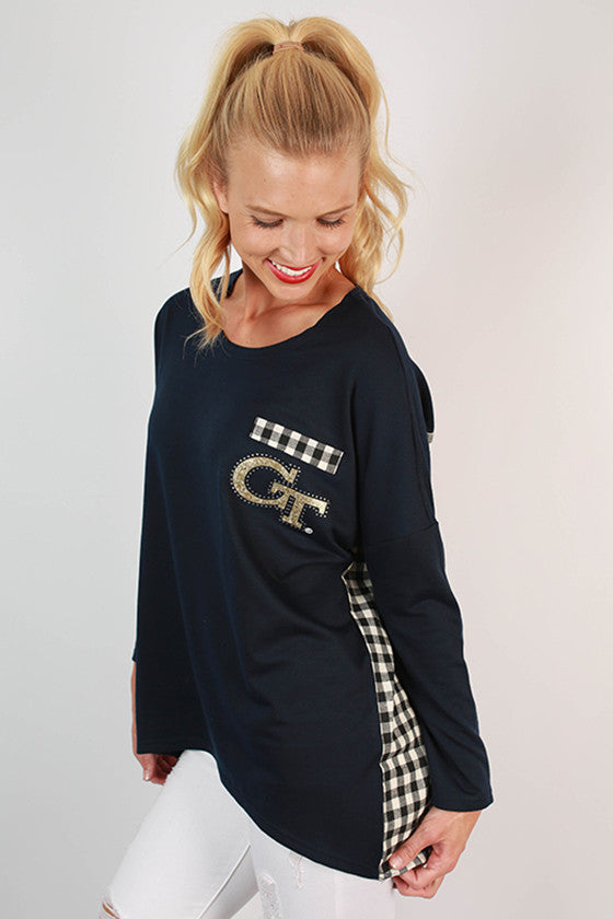 Georgia Tech University Gingham Tunic