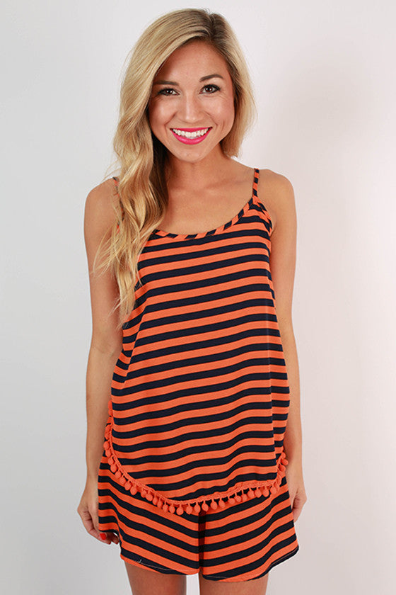 Saturday Special Stripe Tank in Tangerine