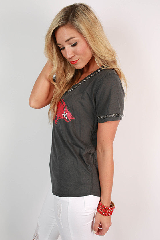 University of Arkansas Boyfriend V-Tee in Grey