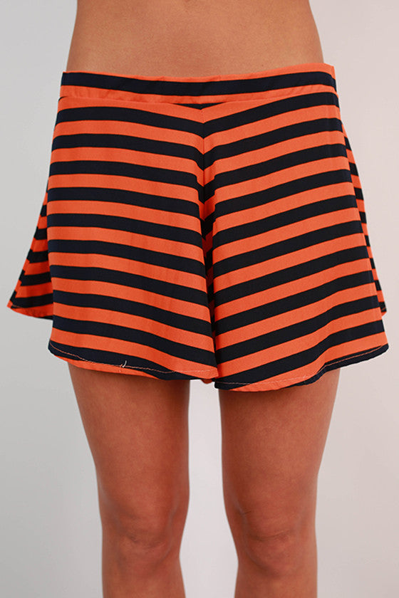 Saturday Special Stripe Shorts in Tangerine