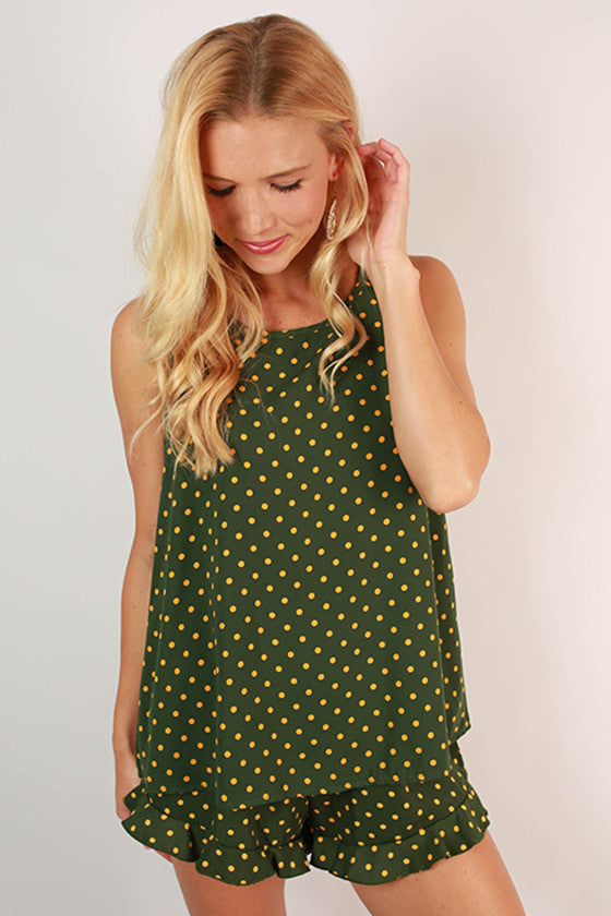 Friday Special Polka Dot Top in Hunter Green