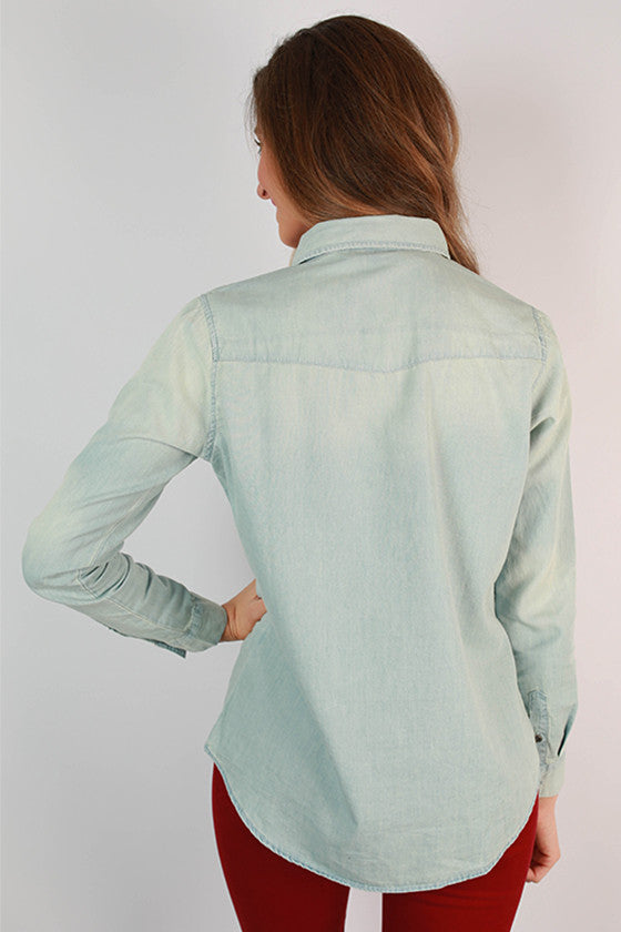 Ocean Wave Denim Top