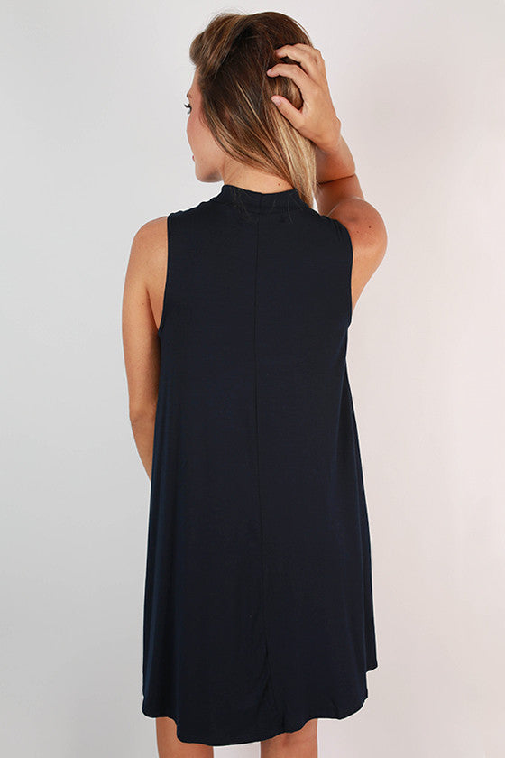 Sipping Bubbly Shift Dress in Navy
