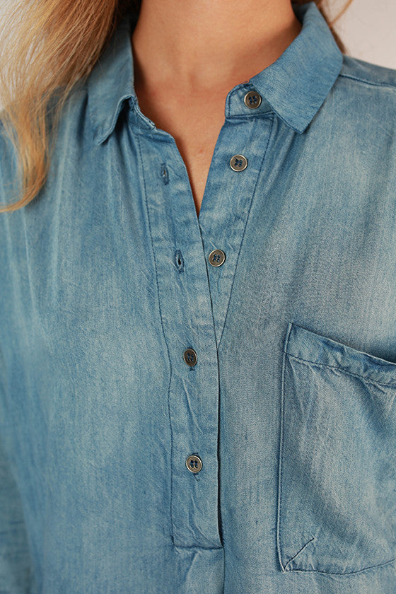 Weekend Wishing Washed Denim Dress