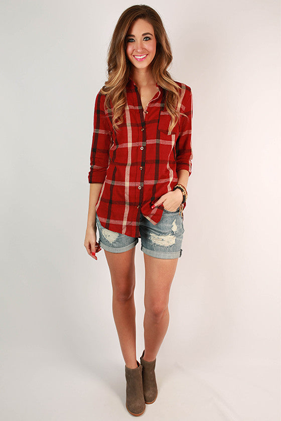 Southern Evening Button Down Top in Crimson