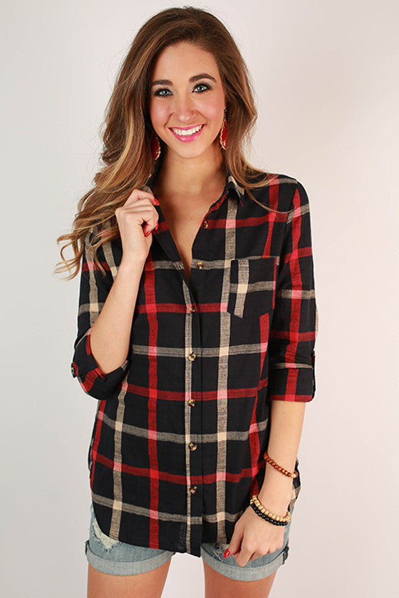 Southern Evening Button Down Top in Navy