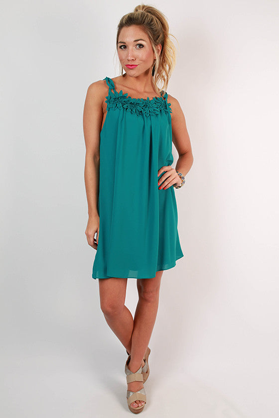 Grand Entrance Floral Trim Dress in Teal