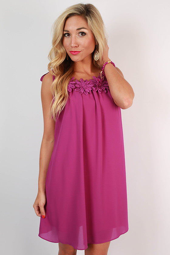 Grand Entrance Floral Trim Dress in Orchid