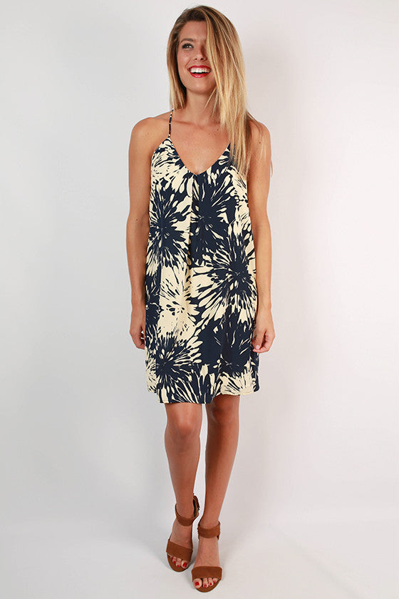 Sparks Fly Racerback Dress in Navy