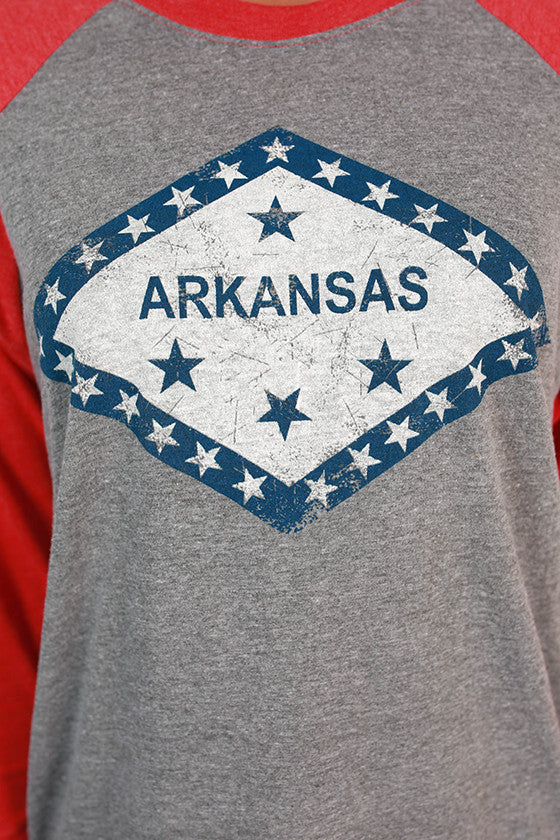 Arkansas Flag Baseball Tee