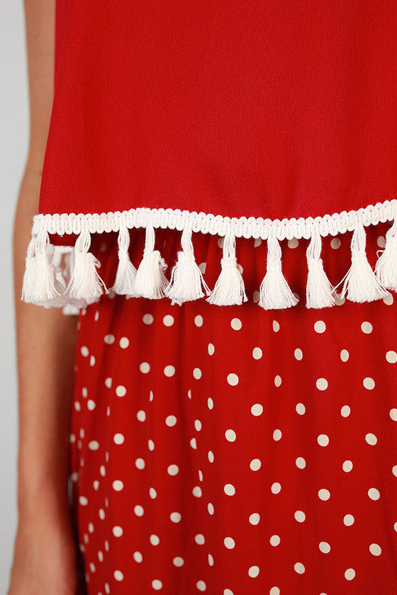 Dream Team Polka Dot Dress in Crimson