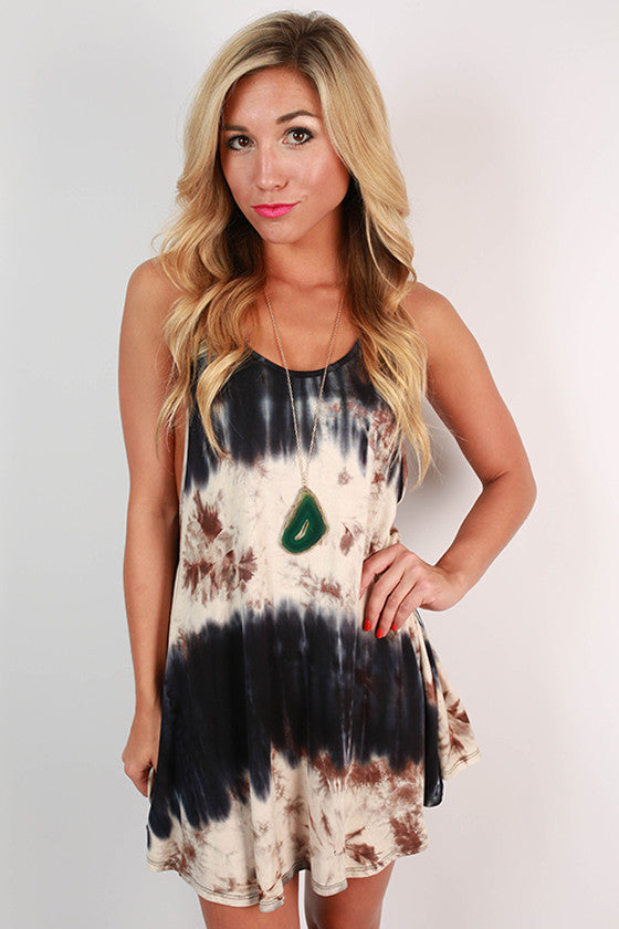 San Diego Sunsets Tie Dye Tunic Tank in Navy