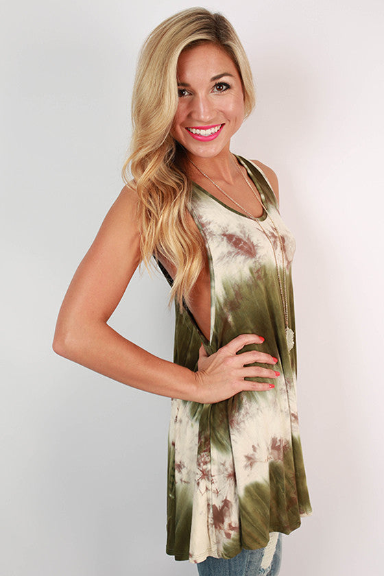 San Diego Sunsets Tie Dye Tunic Tank in Army Green