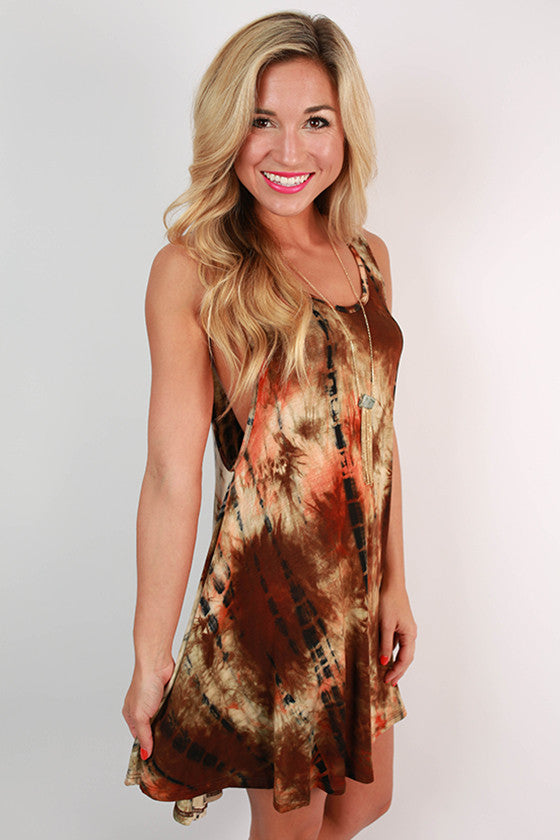 San Diego Sunsets Tie Dye Tunic Tank in Orange