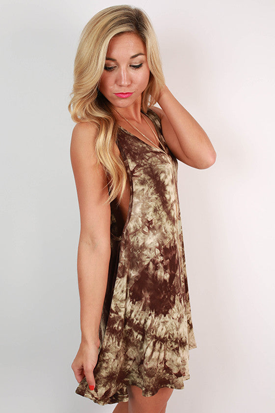 San Diego Sunsets Tie Dye Tunic Tank in Brown
