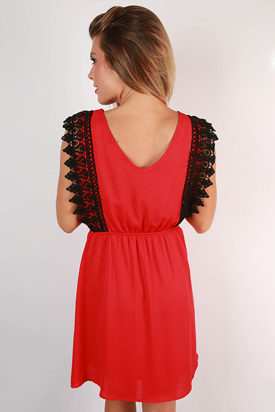 Southern Charm Crochet Trim Dress in Red