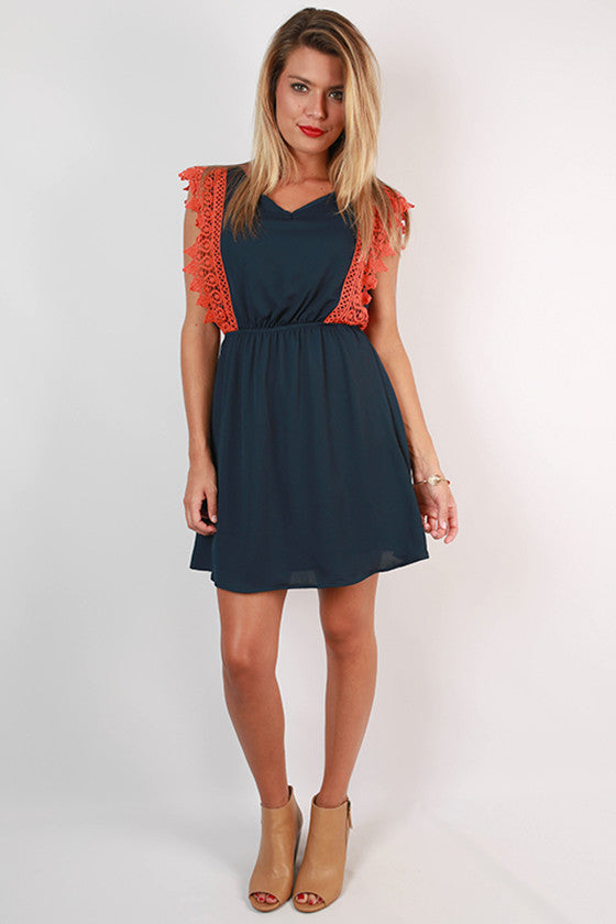 Southern Charm Crochet Trim Dress in Orange