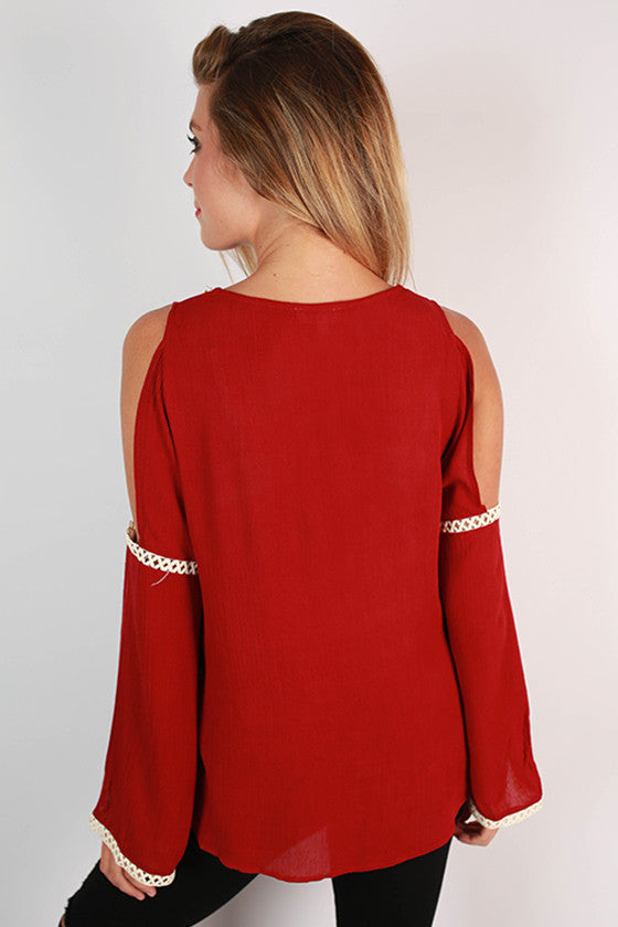 After Party Open Shoulder Top in Crimson