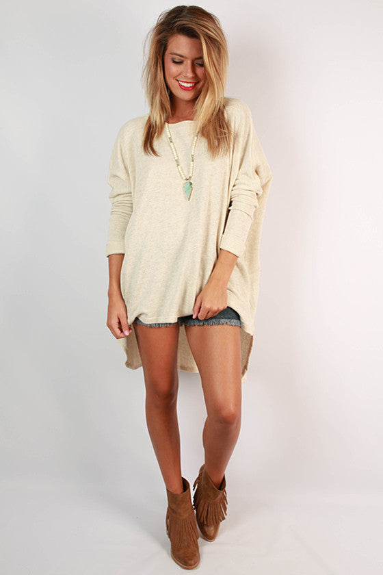 Cozy Comfort Boyfriend Terry Tunic in Cream