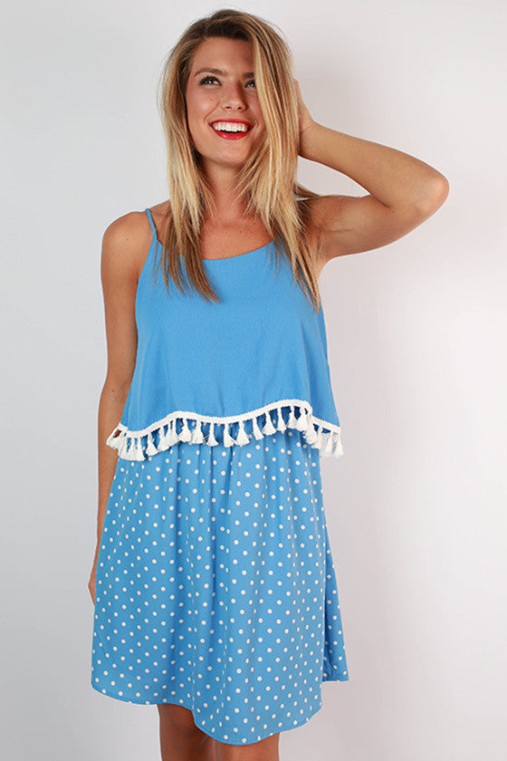 Dream Team Polka Dot Dress in Sky Blue