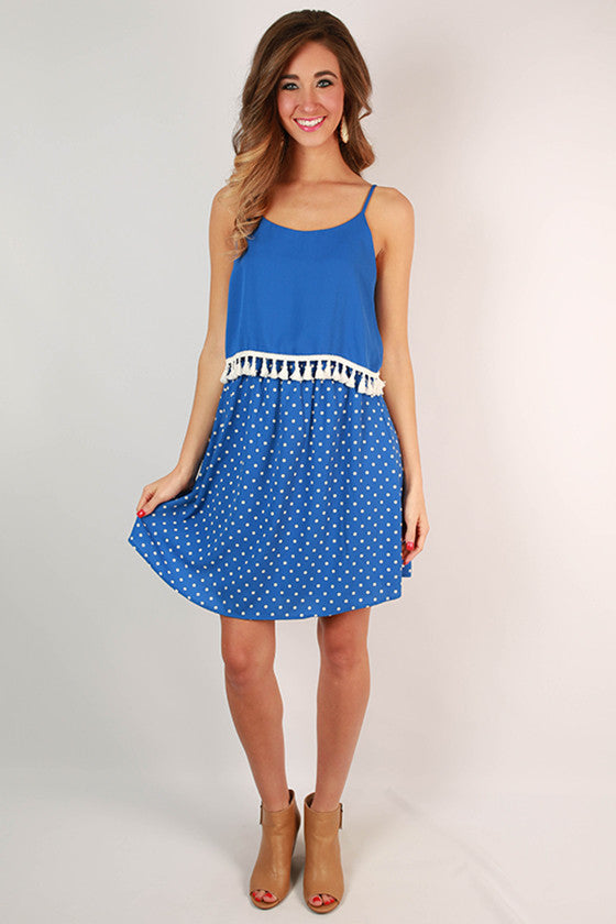 Dream Team Polka Dot Dress in Blue