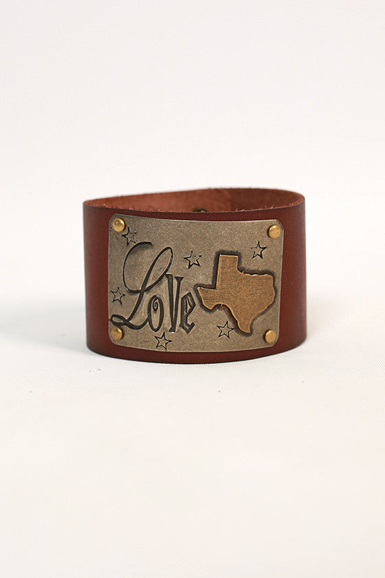 Texas Leather Cuff in Chestnut