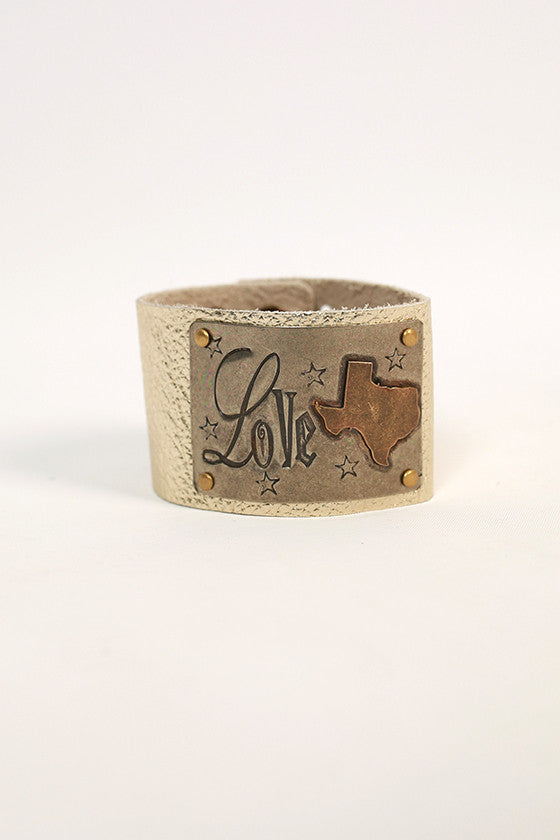 Texas Leather Cuff in Gold