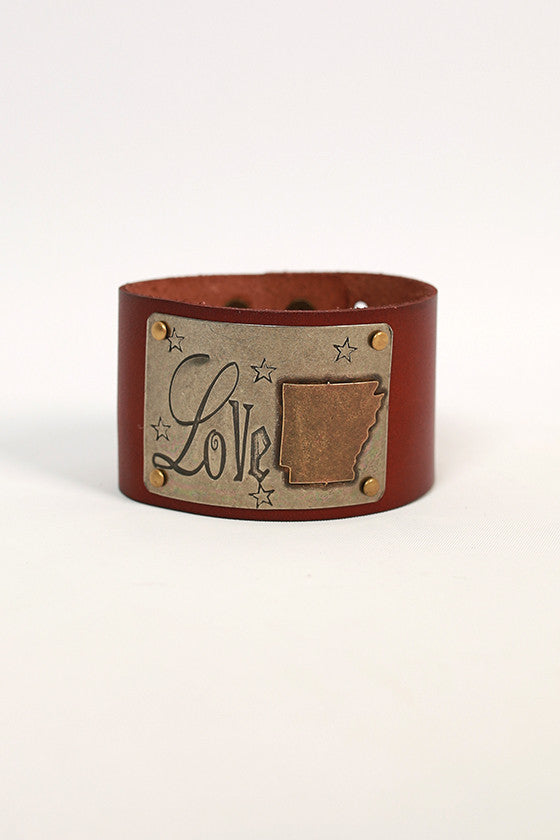 Arkansas Leather Cuff in Chestnut