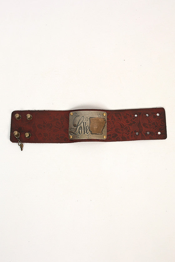 Arkansas Leather Floral Cuff
