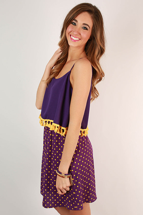 Dream Team Polka Dot Dress in Purple