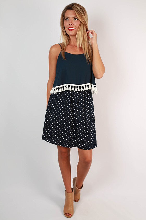 Dream Team Polka Dot Dress in Navy