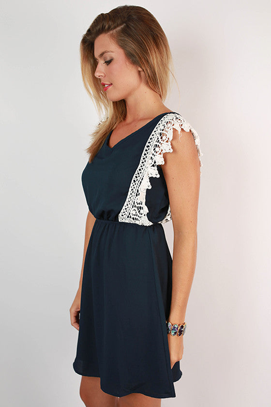 Southern Charm Crochet Trim Dress in Navy