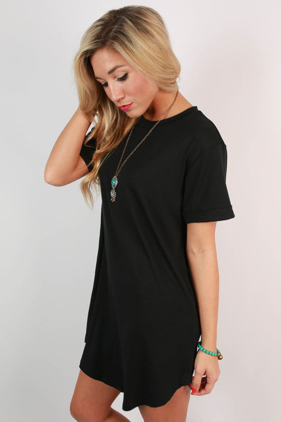 Take A Chance T-Shirt Dress in Black