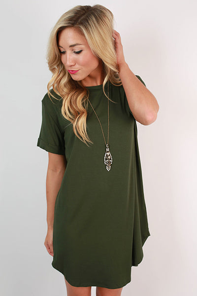 Take A Chance T-Shirt Dress in Hunter Green – Impressions ...