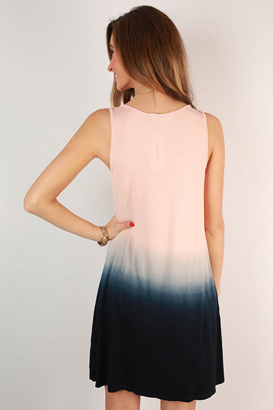 Go With The Flow Ombre Tank Dress in Blush