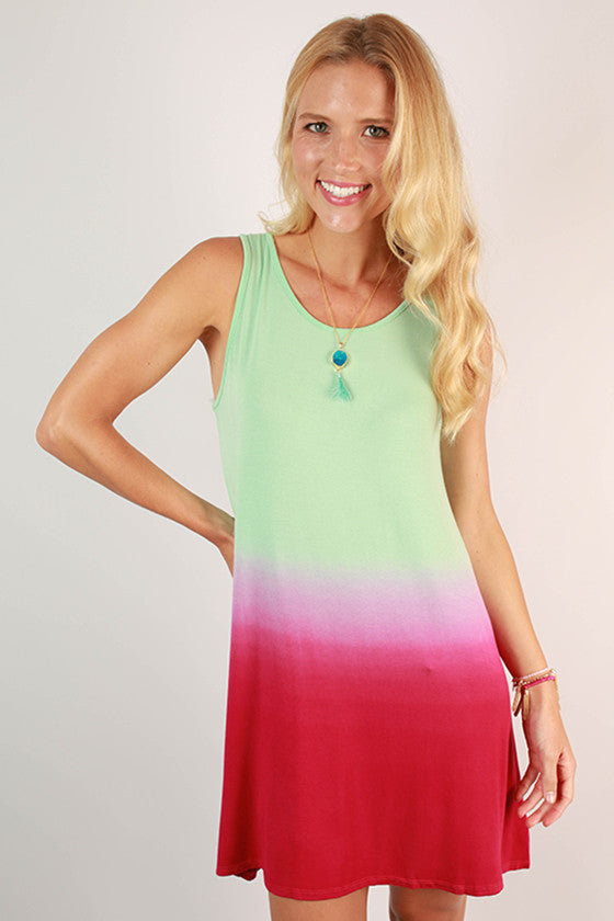 Go With The Flow Ombre Tank Dress in Hot Pink