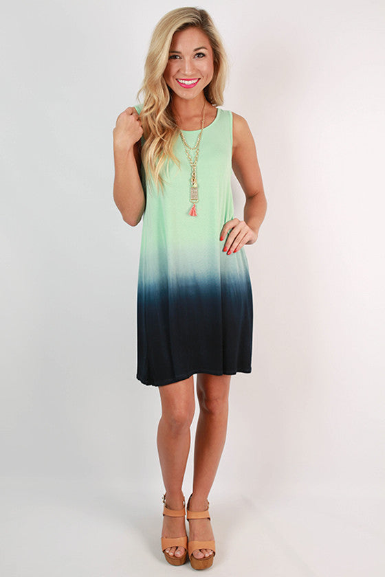 Go With The Flow Ombre Tank Dress in Mint
