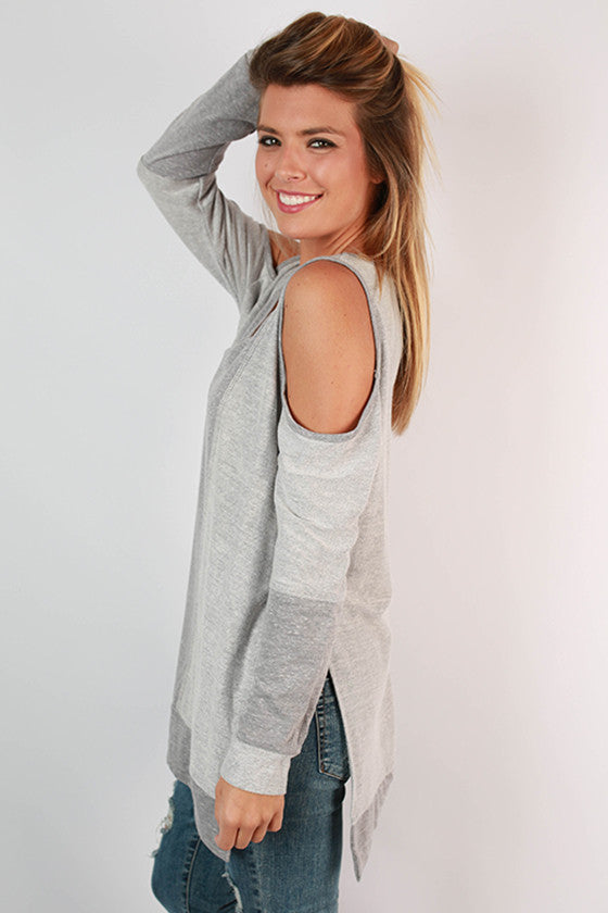 Free Falling Cold Shoulder Tunic in Grey