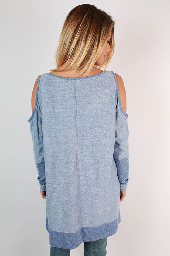 Free Falling Cold Shoulder Tunic in Periwinkle