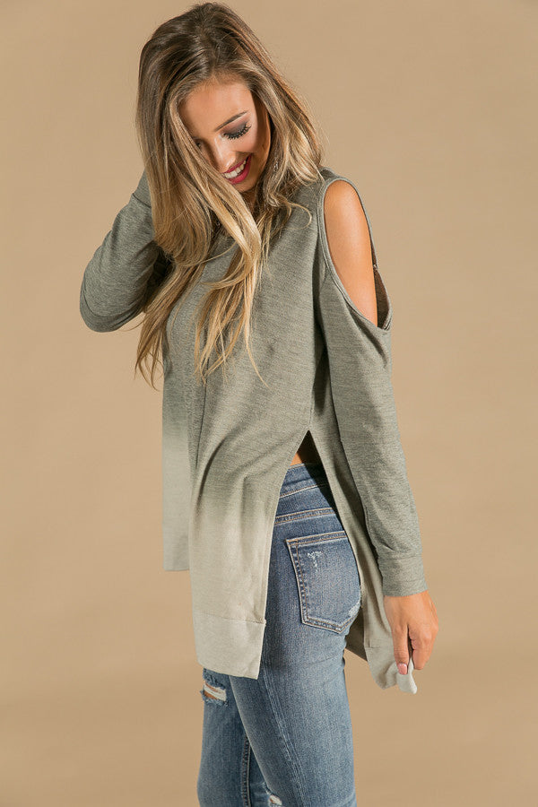 Feeling Free Cold Shoulder Tunic in Dusty Pear