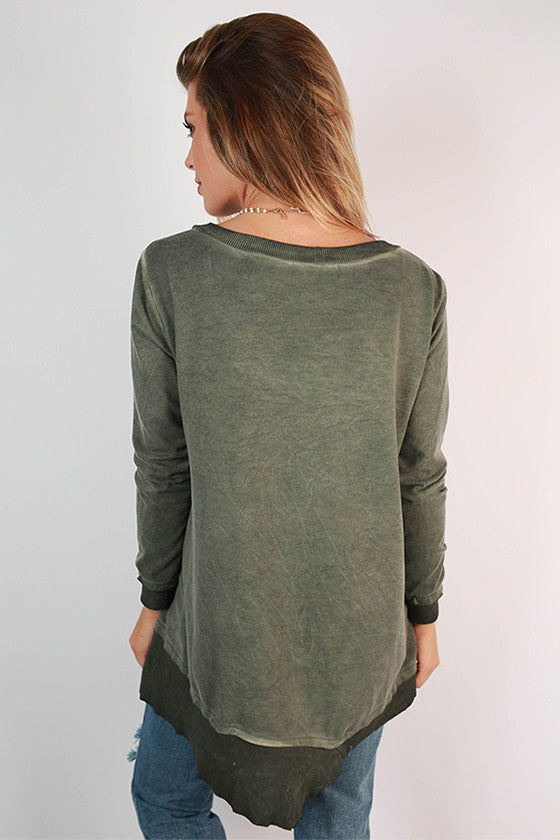 Feel Good Vintage Wash Tunic Sweater in Sage