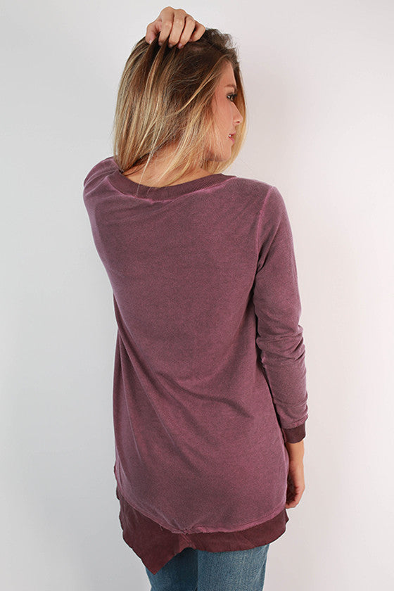 Feel Good Vintage Wash Tunic Sweater in Orchid