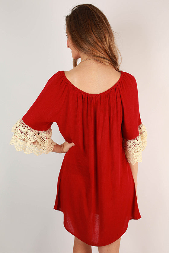 Derby Darling Off The Shoulder Dress in Crimson