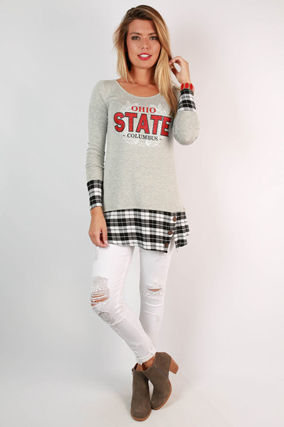 Ohio State University Plaid Tunic